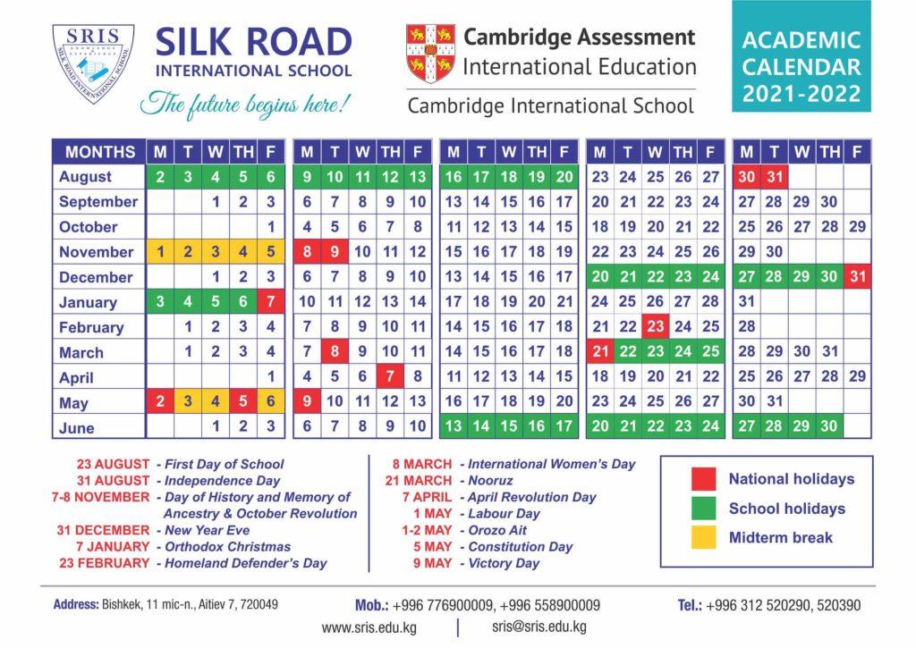 Academic Calendar for 2021/2022 for Silk Road International School showing national holidays, school holidays, midterm breaks and SRIS summer school